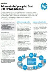 HP Web Jetadmin Take control of your print fleet